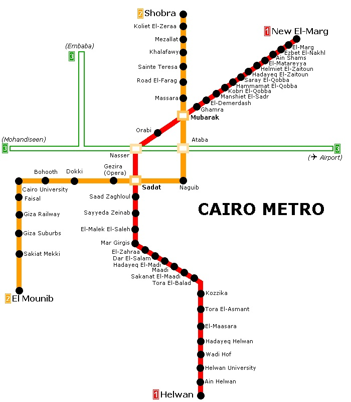Map of the Cairo Metro.