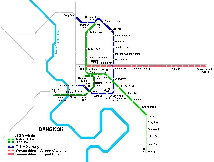 Карта метро Бангкока (Таиланд)