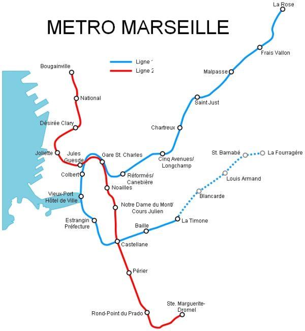 Карта метро Марселя (Франция)